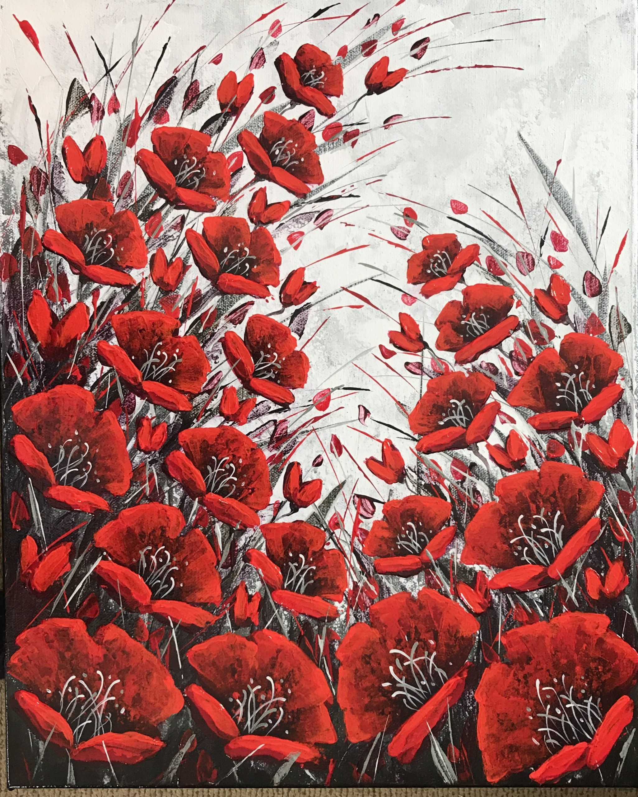 Embrace – winter poppies 16×20